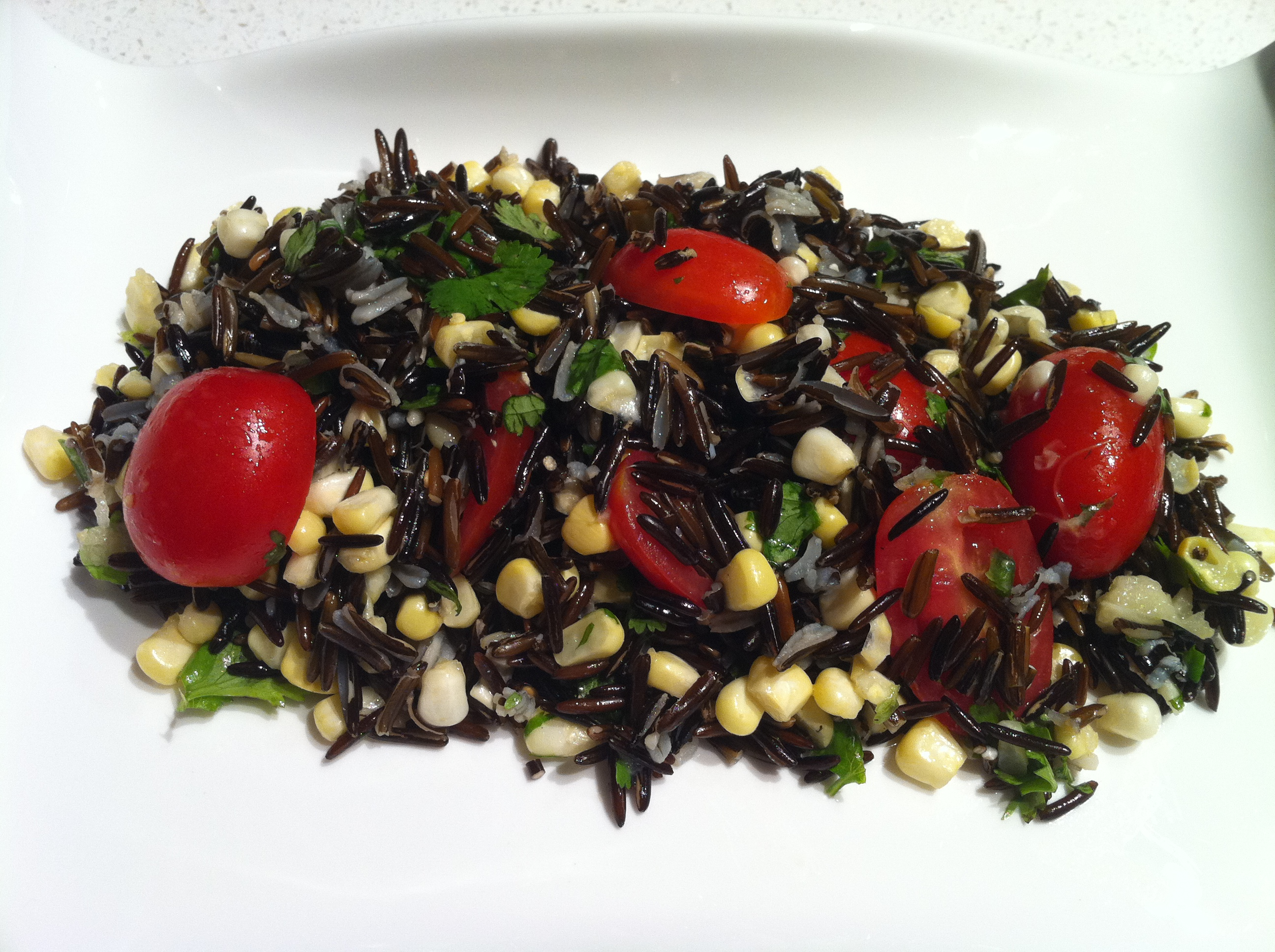 Sprouted Wild Rice with Corn and Tomato
