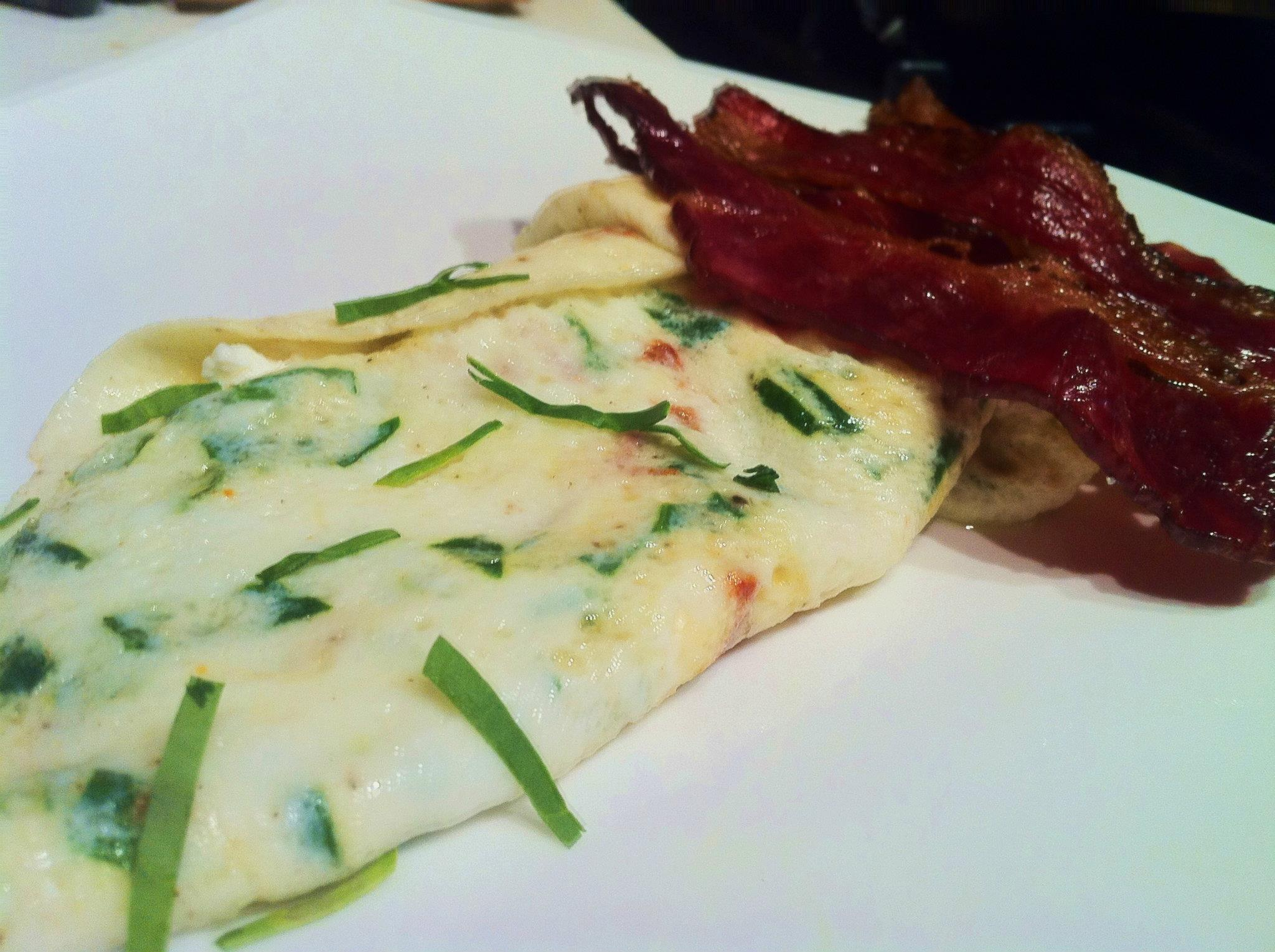 Egg White Omelet, Spinach and Goat Cheese. served with a side of Beef ...