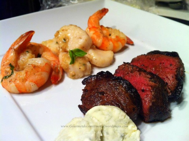 ... and Prawns with Venison and Roquefort Butter | Gourmet De-Constructed