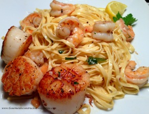 Adding seared scallops to this dish really works!