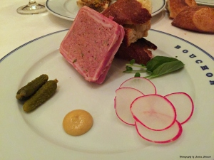 Country-style Pork pâté w/ watercress, cornichons, radishes & Dijon mustard