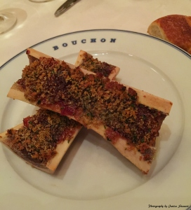 Roasted bone marrow with garlic, parsley, shallots & sherry vinegar