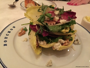 Watercress-endive salad, Roquefort & walnuts with walnut vinaigrette
