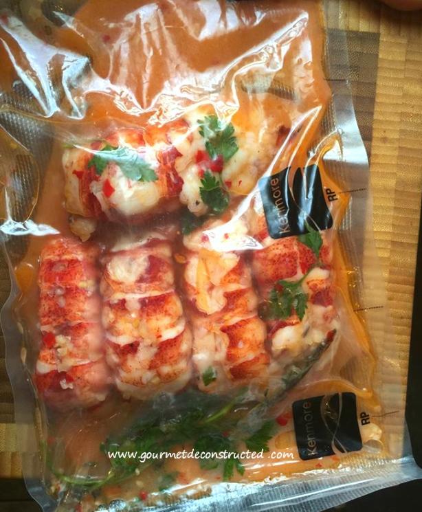 Lobster poached in sous vide bag