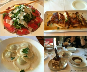 Don Giovanni Clockwise: Carpaccio, chicken fra diavolo, Ravioli, and Birthday deserts at Don Giovanni