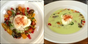 Chilled cucumber gazpacho w/ olive oil poached egg, tomato and garden herbs