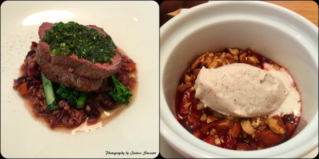 Left: LMR grass-fed beef tenderloin, toasted farro, brocollini de cicco, salsa verde Right: Red wine braised seascape strawberries, crushed almonds, tarragon, and spiced cream