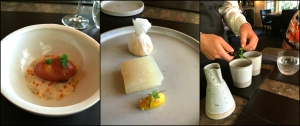 left to right: potato cooked in tendon w/ trout roe and dill, poached halibut squash and herbs, and duck tea chrysanthemum