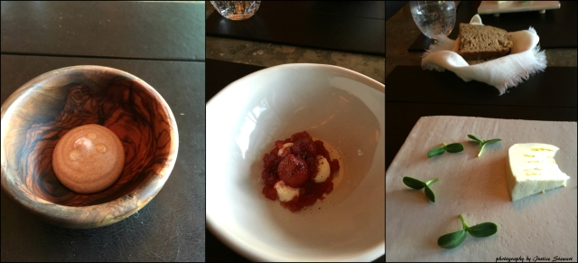 left to right: grilled date with walnut oil, strawberries fromage, brillat sunflower
