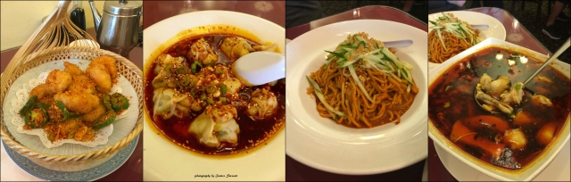 From left to right: Crispy Prawns, Spicy dumplings, House cold noodles, Frog in flaming chili