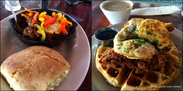 The Smoking Rooster's Chicken & waffles. on the left pulled pork belly & egg